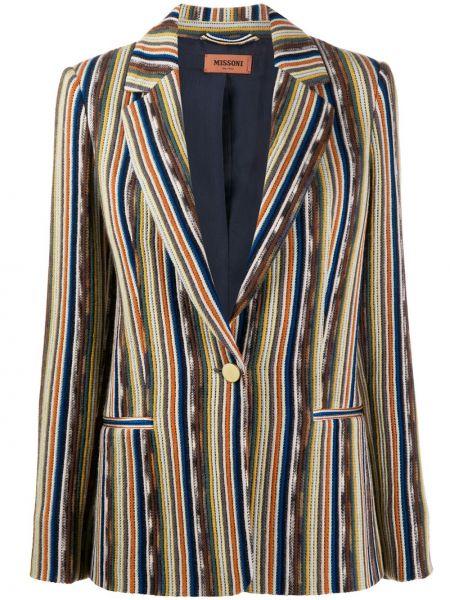 Шерстяной пиджак с карманами в полоску Missoni