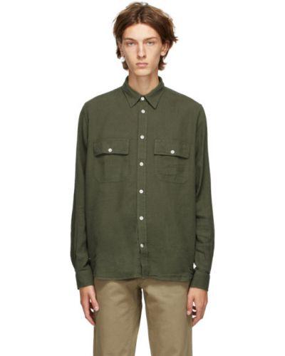 Zielony bawełna koszula z mankietami z kieszeniami Norse Projects
