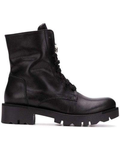 Кожаные ботильоны черные на шнуровке Tosca Blu