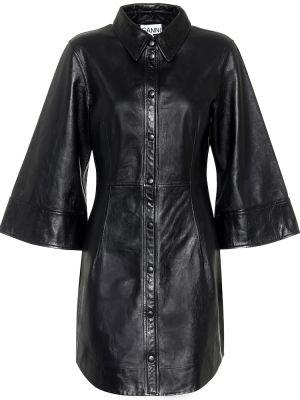 Черное мягкое кожаное платье мини Ganni