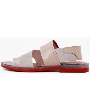 Лаковые бежевые кожаные сандалии Leberdes