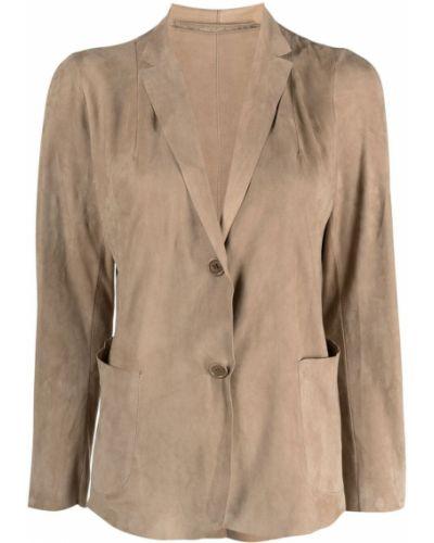 Однобортный кожаный удлиненный пиджак на пуговицах Salvatore Santoro
