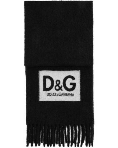 Szalik wełniany - czarny Dolce And Gabbana