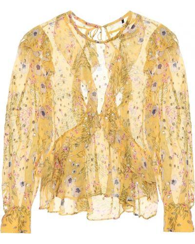 Żółty światło złoty bluzka z falbankami Isabel Marant