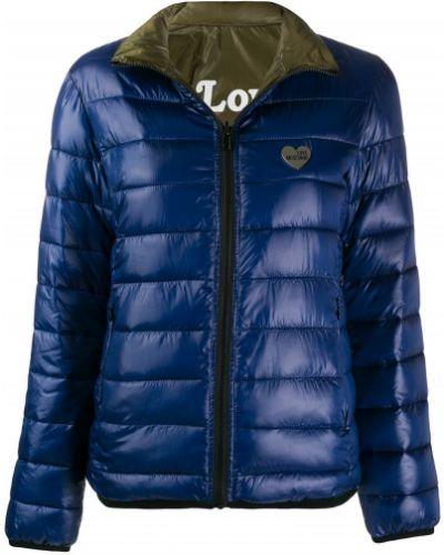 Длинная куртка стеганая серебряная Love Moschino