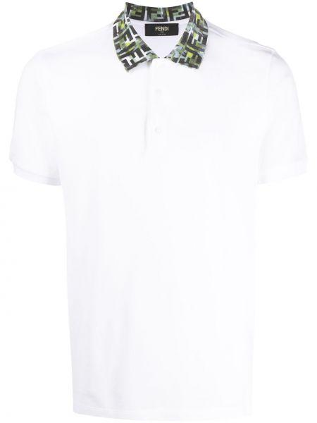 Koszula krótkie z krótkim rękawem z kołnierzem z obrazem Fendi