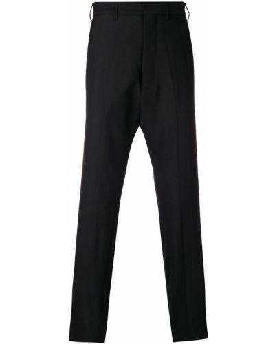 Черные прямые брюки с поясом новогодние Poan