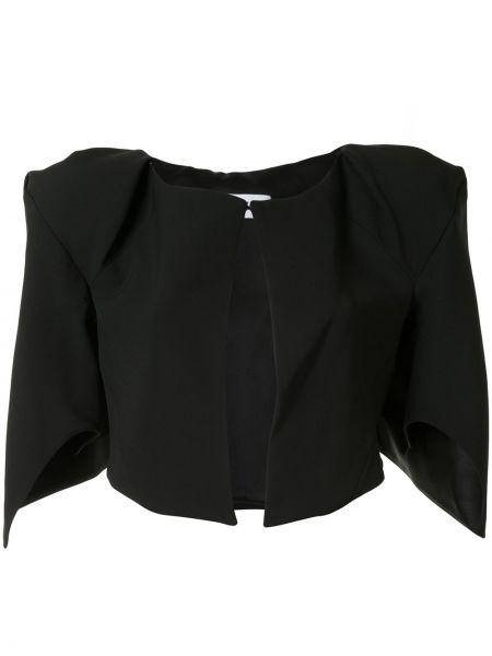Czarna kurtka wełniana asymetryczna Maticevski