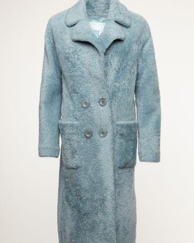 Прямое зеленое пальто с воротником Alcato