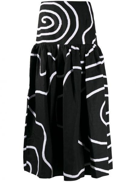 Ватная хлопковая черная приталенная юбка Mara Hoffman