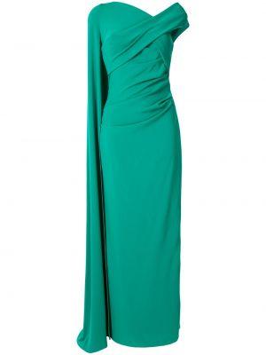 С рукавами зеленое платье макси с V-образным вырезом с драпировкой Talbot Runhof