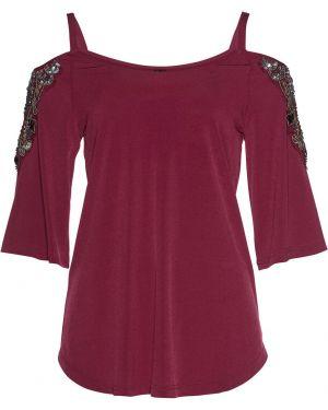 Блузка с открытыми плечами с пайетками с бусинками Bonprix