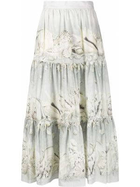 Хлопковая серая юбка Weekend Max Mara