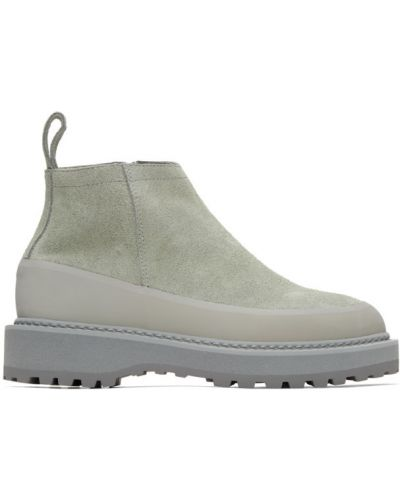 Серебряные замшевые ботинки с подкладкой Diemme