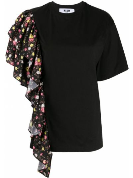 Черная прямая юбка мини с оборками с вырезом Msgm