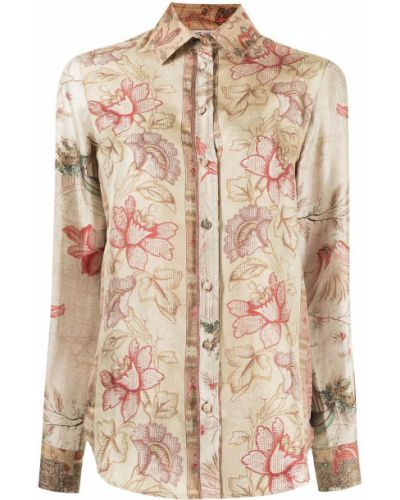 Bluzka z jedwabiu - beżowa Pierre Louis Mascia