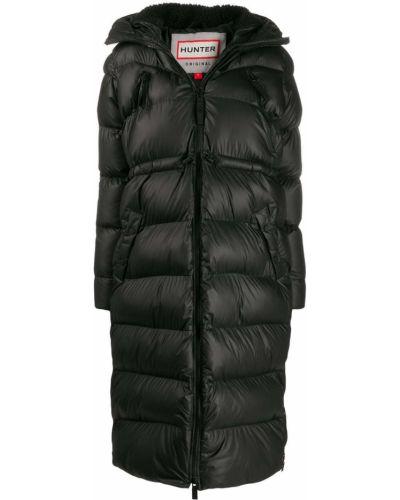 Прямое черное длинное пальто с капюшоном Hunter