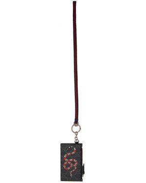 Черная ключница с подкладкой из натуральной кожи со шлицей Gucci