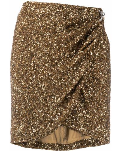 Золотистая желтая юбка мини с запахом с пайетками Amen.