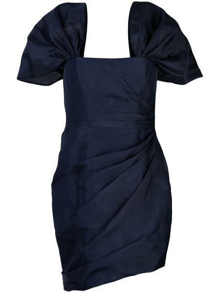 Синее платье мини с оборками с люрексом с вырезом Haney
