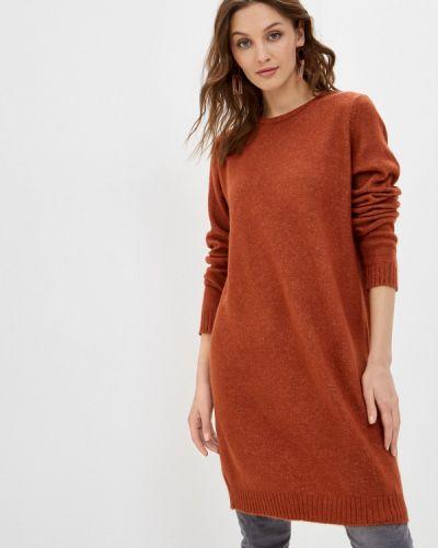 Коричневое трикотажное вязаное платье Sublevel