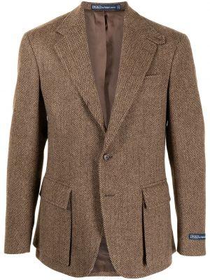 Коричневое шерстяное длинное пальто с накладными карманами Polo Ralph Lauren