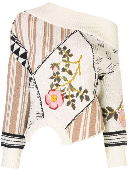 С рукавами хлопковый свитер со спущенными плечами с вышивкой Monse