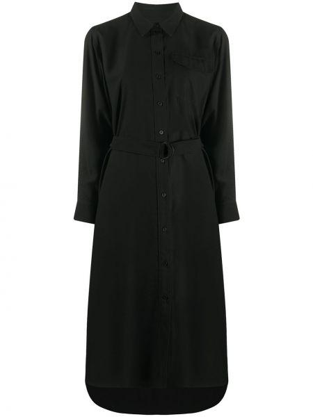 Черное платье миди с длинными рукавами с поясом Kenzo