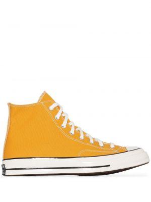 Желтые высокие кеды на шнуровке со вставками Converse