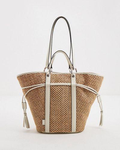 Соломенная бежевая сумка с ручками из натуральной кожи Lancel