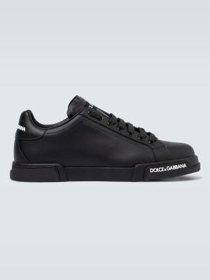 Кожаные черные кроссовки Dolce & Gabbana