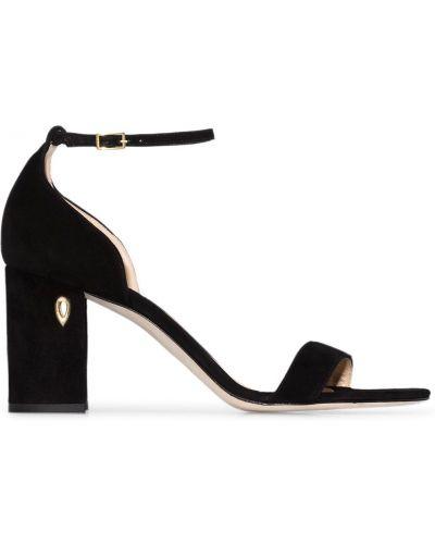 Кожаные открытые черные босоножки на каблуке Jennifer Chamandi