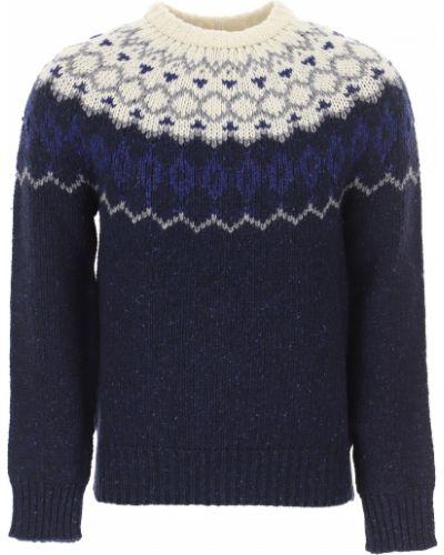 Szary długi sweter bawełniany z długimi rękawami Woolrich
