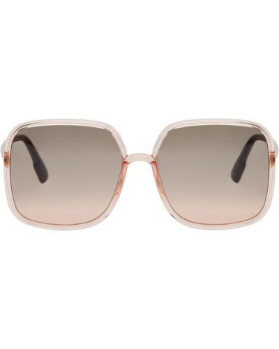 Розовые солнцезащитные очки прозрачные квадратные Dior