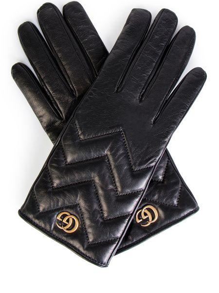 Кашемировые черные кожаные перчатки с декоративной отделкой Gucci
