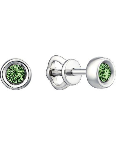 Зеленые серьги-гвоздики с бриллиантом Imperial