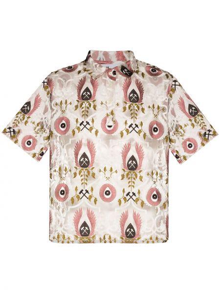 Свободная прямая рубашка с короткими рукавами с вышивкой на пуговицах Gmbh