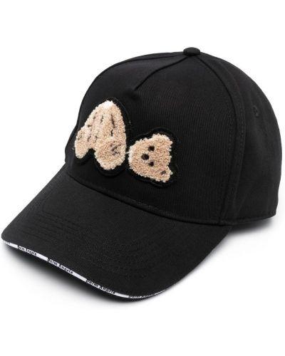 Czarna czapka bawełniana z haftem Palm Angels