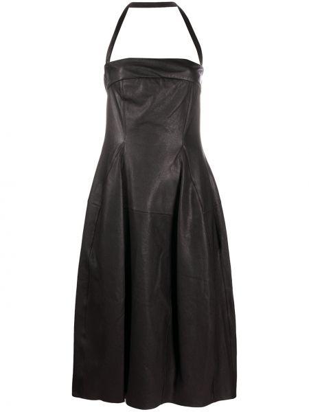 Расклешенное кожаное платье миди с вырезом на молнии Gentry Portofino