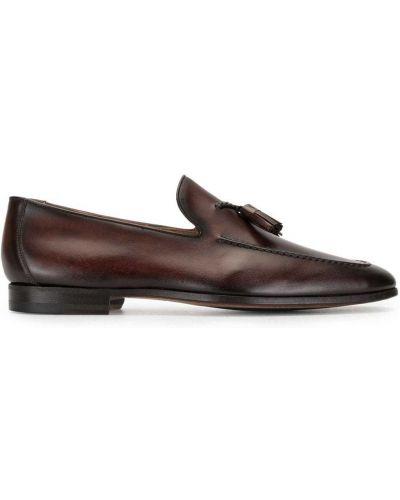 Коричневые кожаные лоферы с кисточками на каблуке Magnanni