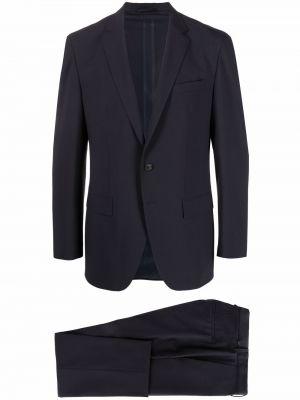Синий шерстяной костюм для полных Boss