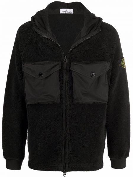 Куртка с капюшоном - черная Stone Island