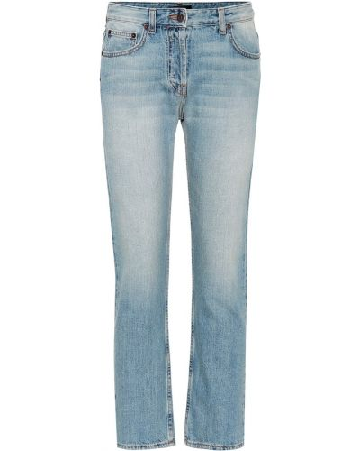 Niebieskie jeansy zapinane na guziki bawełniane The Row