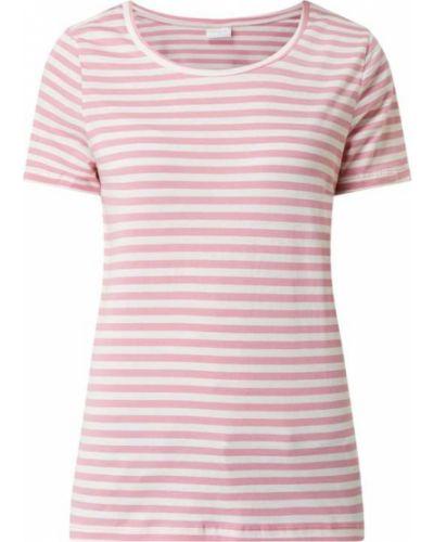 Różowy t-shirt w paski bawełniany Vila