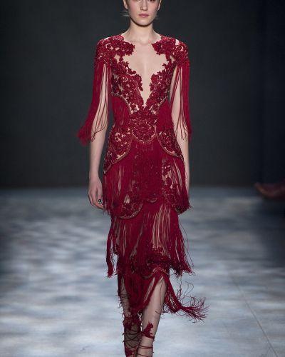 Платье с бахромой - красное Marchesa