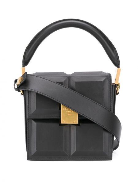 Czarny z paskiem torba kosmetyczna z prawdziwej skóry z gniazdem Balmain