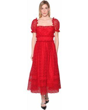 Платье мини с декольте с поясом Self-portrait