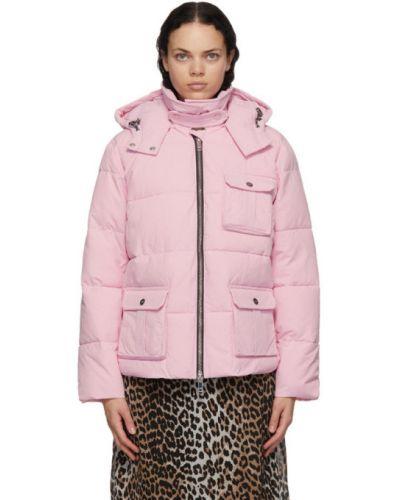 С рукавами розовая стеганая длинная куртка Ganni