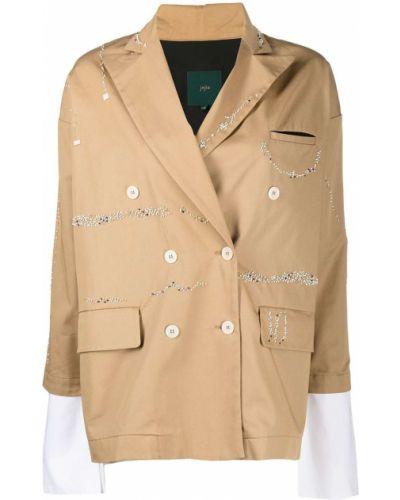 Коричневый пиджак двубортный с карманами Jejia