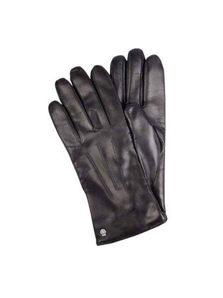 Skórzany niebieski skórzany rękawiczki z nitami Roeckl